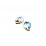25x18mm švelnios gelsvos AB sp. kristalai aukso sp. rėmeliuose, 2vnt.