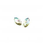 27x13mm švelnios gelsvos AB sp. kristalai aukso sp. rėmeliuose, 2vnt.