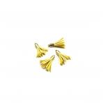 27mm geltonos sp. dirbtinės odos kutai, aukso sp. kepurėle, 4vnt.