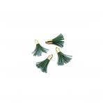 27mm žalios sp. dirbtinės odos kutai, aukso sp. kepurėle, 4vnt.