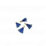 27mm mėlynos sp. dirbtinės odos kutai, aukso sp. kepurėle, 4vnt.