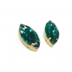 27x13mm Emerald sp. kristalai aukso sp. rėmeliuose, 2vnt