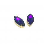 27x13mm mėlynos AB sp. kristalai aukso sp. rėmeliuose, 2vnt