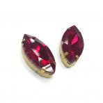 27x13mm raudonos sp. kristalai aukso sp. rėmeliuose, 2vnt