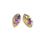 27x13mm švelnios rožinės AB sp. kristalai aukso sp. rėmeliuose, 2vnt