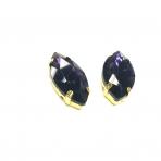 27x13mm violetinės sp. kristalai aukso sp. rėmeliuose, 2vnt