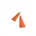 64mm oranžinės sp. dirbtinės odos kutai, aukso sp. kepurėle, 2vnt.