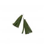 75mm tamsiai žalios sp. dirbtinės odos kutai, sidabro sp. kepurėle, 2vnt.