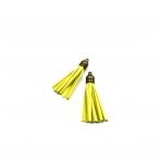 57mm geltonos sp. dirbtinės odos kutai,žalvario sp. kepurėle, 2vnt.
