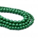 6mm matiniai žalios sp. stikliniai perlai, 80cm juosta