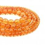 6mm oranžinės sp. stikliniai perlai, 80cm juosta