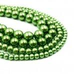 6mm žalios sp. stikliniai perlai, 80cm juosta