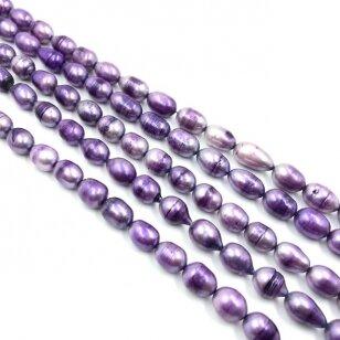 7-8mm violetinės sp. natūralūs gėlavandeniai perlai, 39cm juosta