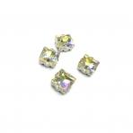 8mm crystal AB sp. kristalai sidabro sp. rėmeliuose, 4vnt