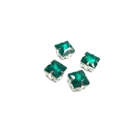 8mm Emerald sp. kristalai sidabro sp. rėmeliuose, 4vnt