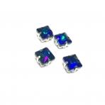 8mm mėlyna AB sp. kristalai sidabro sp. rėmeliuose, 4vnt