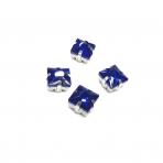 8mm mėlynos sp. kristalai sidabro sp. rėmeliuose, 4vnt