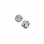 8mm mėnulio rožinės sp. kristalai sidabro sp. rėmeliuose, 2vnt
