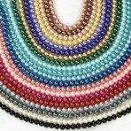 8mm stiklinių perlų 10 juostų mix, blizgūs