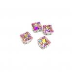 8mm švelnios rožinės AB sp. kristalai sidabro sp. rėmeliuose, 4vnt