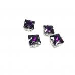 8mm violetinės sp. kristalai sidabro sp. rėmeliuose, 4vnt