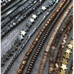 Hematito karoliukai juostomis, mix formos, mix dydžiai, 10 juostų, aukso spalva